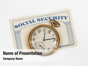 Old Social Security card with antique pocket watch and white