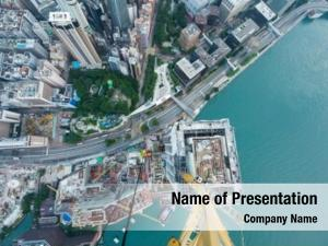 Business area near waterside in Hong Kong, China, view from crane on construction site, view from New World Center