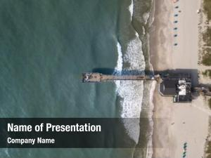 Aerial view of fishing pier and beautiful beach in Myrtle Beach, South Carolina