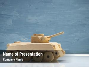 Wooden toy tank studio shot