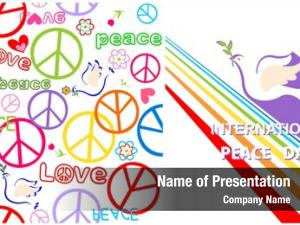 Greeting card with dove, peace symbol and rainbow for International Peace day and hippie
