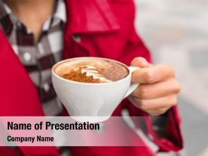 Morning breakfast enjoying a hot coffee cup with milk foam