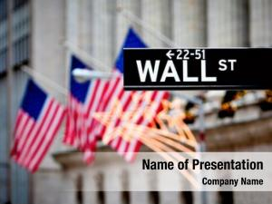 Wall street sign in New York with New York Stock Exchange