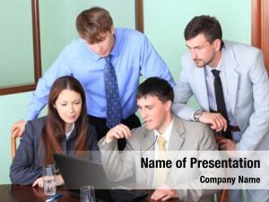 Business theme: business people in a work process in office