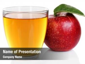 Glass of apple juice with red apple  on white