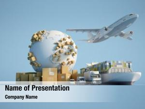 3D   of the Earth surrounded by cardboard boxes, a cargo container ship, a flying plan, a car, a van and a truck