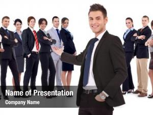 young business manwelcoming you to his business team