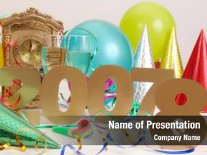 Old 2007 year with digit number seven covered by digit eight to show New year is coming with table clock streamers, balloons, party hats and two glasses of champagne in the