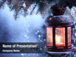 Christmas lantern with snowfall,Closeup