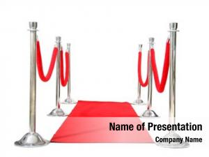 Genuine Hollywood Red Carpet with Red Velvet Ropes and Silver Stanchions,  on white with room for your text
