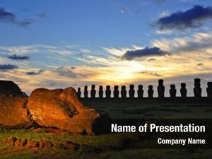 CHILE - FEBRUARY 5: Moais of Ahu Tongariki at sunrise on Easter Island, Chile