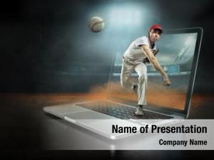 Caucassian baseball Player in dynamic action with ball in a professional sport game play on the laptop in baseball under stadium lights