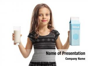 Girl holding a glass of milk and a milk carton  on white