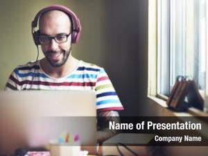 Man Relax Enjoyment Listening Using Laptop Concept