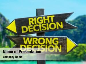 Right Decision - Wrong Decision signpost in a beach