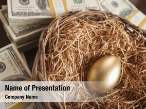 Golden Egg in Nest with Thousands of Dollars on Table
