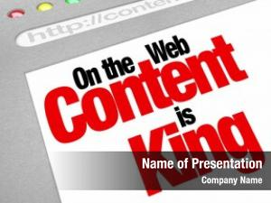 The words Content is King on a computer website screen to illustrate the importance of fresh or new articles, features, files, or other valuable items for visitors to find at your website