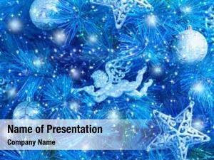 Picture of blue Christmas tree , Christmastime fir decorations, star, bauble and angel decorated holiday spruce, happy New Year greeting card, xmas celebration, abstract