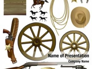 Set of objects and symbols of Wild West of America  on white