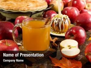 Apple cider, caramel apple and apple pie