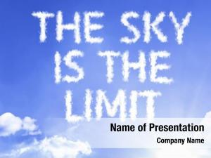The Sky Is The Limit cloud word with a blue sky
