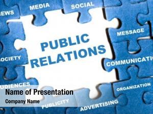 Blue public relations puzzle pieces