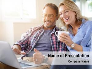 Connected mature couple internet laptop
