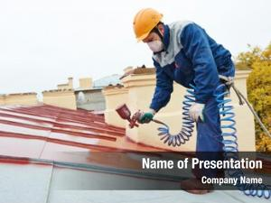 Worker roofer builder pulverizer spraying