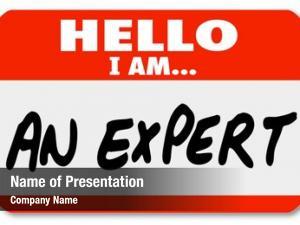 Expert words hello written red