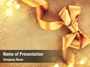 Satin christmas golden ribbon bow