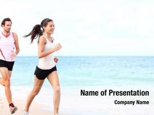 Running sport couple beach training