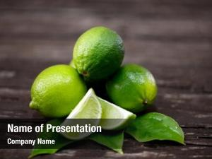 Lime lime juice slices wooden