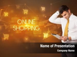 Cart businessman shopping icons online