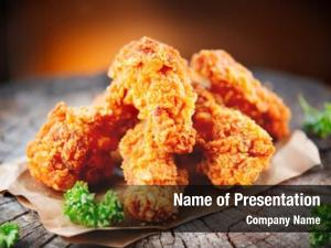 Wings fried chicken wooden table