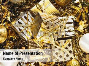 Handmade christmas decorated golden