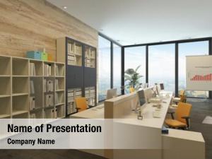 Open plan rendering modern office multiple