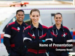 Medical group emergency technicians front