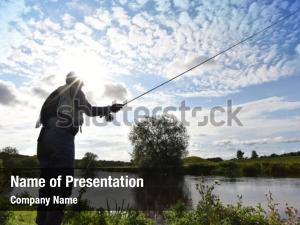 Fisherman in river powerpoint theme