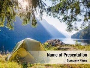 Tent sunlit camping scenic campsite