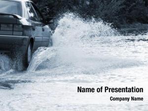 Through car drives flooded road