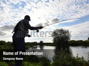Fisherman in river powerpoint template
