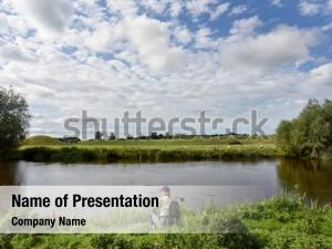 Fisherman waiting powerpoint template