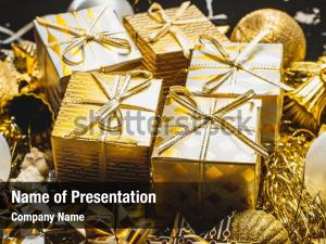 Decorated golden powerpoint theme
