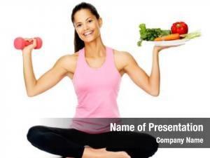 Woman portrait healthy vegetables dumbbells