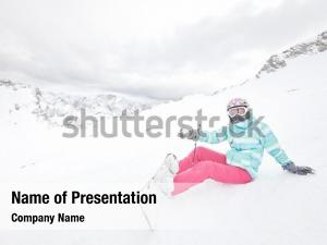 Gesturing wearing female snowboarder