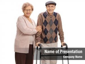 Elderly elderly woman man walker