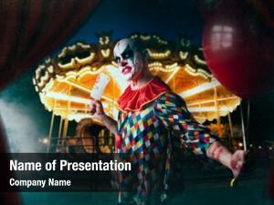 Clown scary bloody baseball bat