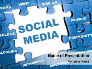 Blue social media puzzle pieces