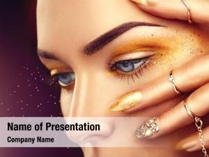 Woman beauty fashion golden makeup,