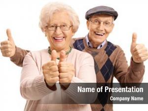 Holding overjoyed seniors their thumbs